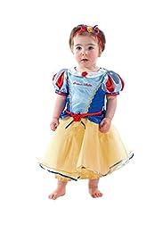Este disfraz de Princesa Blancanieves tamaño Disney es adorable e incluye un precioso vestido amarillo y azul adornado con lazos y flores que hacen juego con diadema y bombachos.