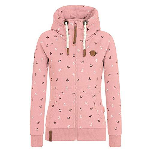 EwigYou Damen Baumwolle Kapuzenjacke Hoodie mit Fleece-Innenseite Sweatshirt Herbst Winter Große Größen Übergangsjacke Sweatjacke -