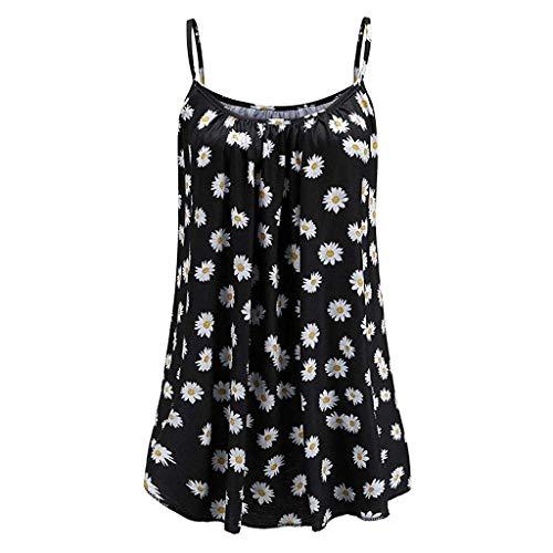 KIMODO Damen Lose ärmellose Tank Top Blumen Drucken Camisole Weste Plus Size T-Shirt Bluse Sommer Oberteile Große Größen (Hunde T-shirt Plain)