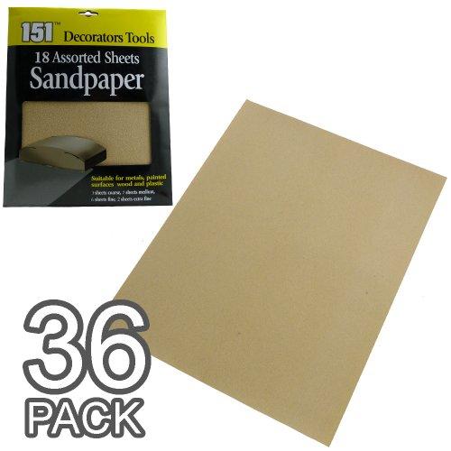 Lot de 18/36 feuilles de papier abrasif, Packs of 36