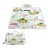 TIZORAX Picknickdecke Flamingo Vogel Tropische Blumen Wasserdichte Outdoor Decke Faltbare Picknick Handliche Matte Tragetasche für Strand Camping Wandern