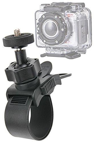 Duragadget Support et bras vélo, moto, trottinette & autres à fixer sur barre cylindrique tel un guidon pour Monoprice MHD Sport Wifi / 10629
