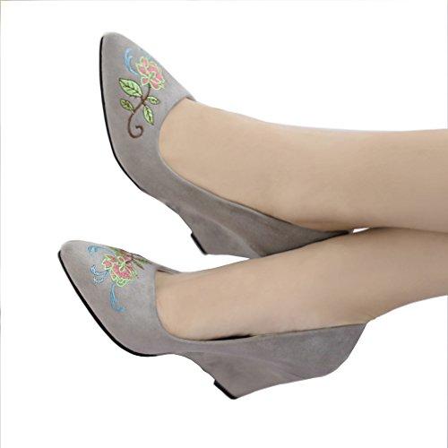 ENMAYER Femmes Le Daim Glisse Sur Talons De Chaussures Occasionnel Fait Coin Broderie Chaussures Cétro Gris