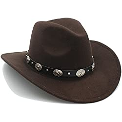Ruanyi Vintage Womem Men Western Cowboy Hat con borde ancho Punk Belt Cowgirl Jazz Cap con casco de cuero Toca Sombrero ( Color : 7 , Size : 57-58cm )