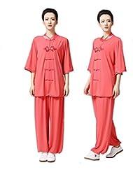 Mujer chino Kung Fu Tai Chi Uniforme Artes Marciales ropa Wushu Traje, color Rojo - rosso, tamaño XS