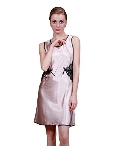 CHENGYANG Femmes PJS Silky Satin Lingerie Pyjamas Nuit Sans Manches Robe en Dentelle Brun