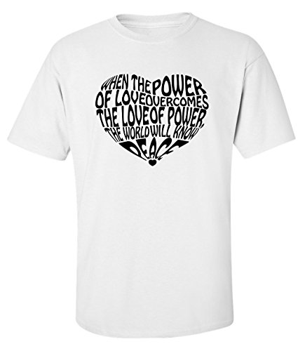 Power of love peace slogan heart fashioned dope t-shirt homme blanc (XL)
