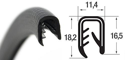 KS-S4-6S Kantenschutzprofil von SMI-Kantenschutzprofi - PVC Gummi Klemmprofil mit Stahleinlage - Kantenschutz - Schwarz - einfache Montage, selbstklemmend ohne Kleber, Klemmbereich 4-6 mm (3 m)