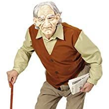 XL Mens OLD MAN shirt with vest, mask with wig & eyebrows Accessory for Elderly Nan Nanny Grandmother OAP Fancy Dress Ex