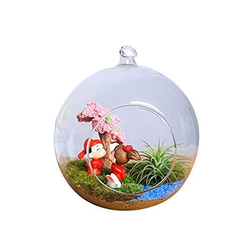 Cupcinu Hängepflanze im Glas-Terrarium, Teelichthalter, Blumenvase, hängender Kugel-Blumentopf, Container für Succulents/Kakteen, Miniatur-Moosgarten für Heimgarten-Dekor, Borosilikatglas, Big, S