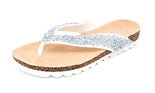 Damen Zehentrenner Flats Sandalen Dianetten Sandaletten Glitzersteinchen (8153) Weiß
