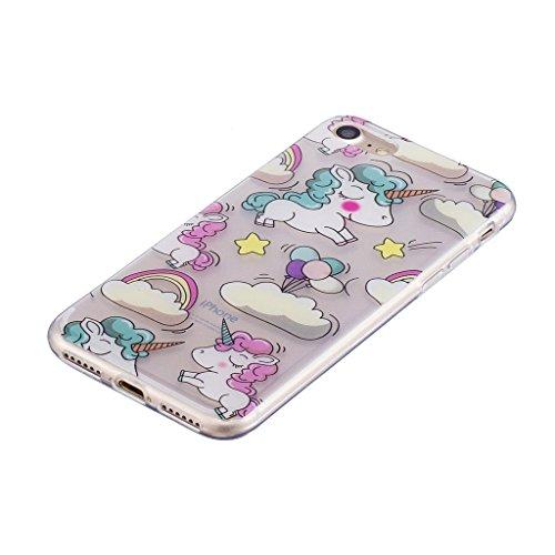 Cover iPhone 7 , YIGA Punto donda Labbra rosse Cristallo Trasparente Silicone Morbido Case Molle TPU Shell Caso Protezione Custodia per Apple iPhone 7 (4.7) WM111