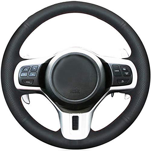 ZYTB Für Schwarze handgenähte Lenkradabdeckung für Mitsubishi Lancer 10 EVO Evolution Outlander 2010,Beige Thread (Lancer Evolution 10)