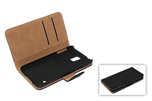 König-Shop Handy-Hülle für Wiko Highway Pure Schutzhülle Schutztasche Wallet Tasche Case Cover Etui Schale Handyschale Handytasche mit Standfunktion Schwarz