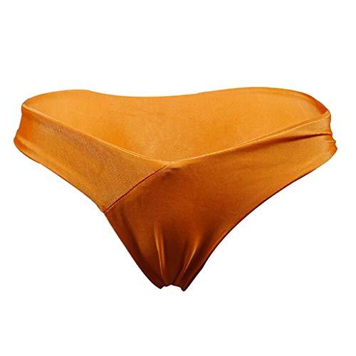 Sharplace Damen Hipster T-Back Milchseide Bikini Slip Bikinihose Badeslip brazilian Unterwäsche Panty, Größe Auswahl - Dunkelorange, S - 2