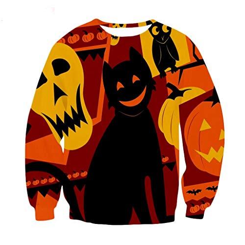 Kostüm Allerheiligen Muster - Xmiral Sweatshirts Pullover Herren 3D Drucken Lange Ärmel Tops Slim Fit Rundhals Outdoor Allerheiligen Persönlichkeit Grässlich kostüm(Orange,XXL)