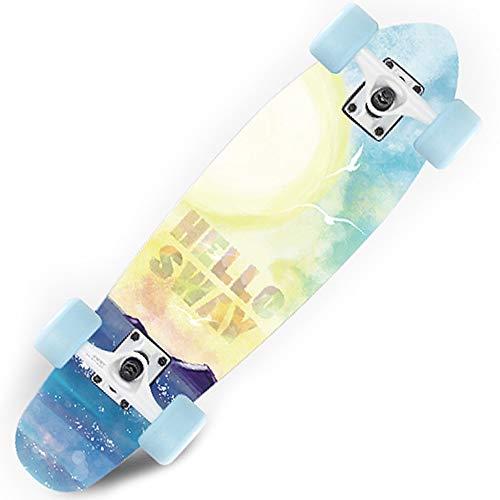 PANLISONG Kleine Fischplatte Vierrädriges Skateboard Peeling Verbreitertes Rad/Erwachsener/Anfänger/Kind/Teenager/Junge/Mädchen/Sportpedal