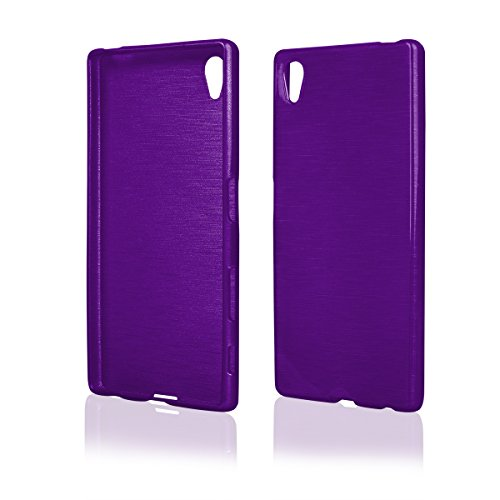 EGO  Brushed Silikon Case (für Sony Xperia Z5, Violett Transparent) Cover, Tasche,  Metallic Effect