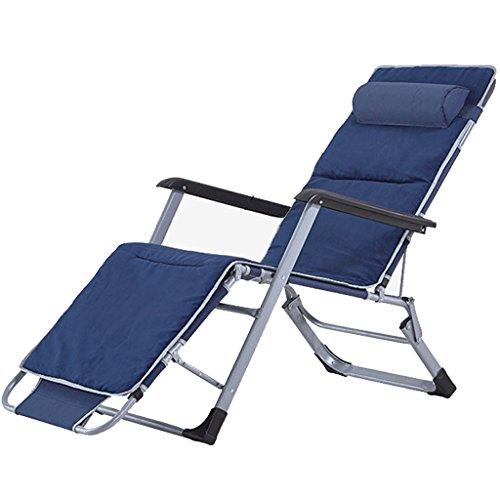 Klappbett Recliners Faltbarer Stuhl Beach Chair Einzelbett Nickerchen Bett Pflegebett Bett und Stuhl Dual Zweck mit blauem Oxford Tuch und hoher Rückenlehne Stuhl Baumwolle Kissen (Beach-chair-position 4)