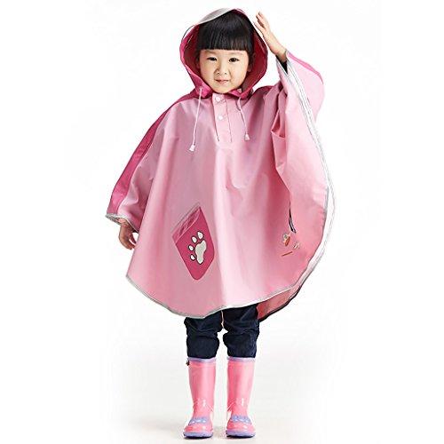 Regenmantel Kinderregenmantel Poncho Cloak Fashion Pink Transparent Visier Geeignet für 3-10 Jahre alt Jungen und Mädchen Wasserdicht Umweltfreundlich Geruchlos Komfortabel und atmungsaktiv