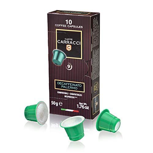 Caffè carracci, capsule compatibili nespresso, decaffeinato palermo - 10 astucci da 10 capsule (totale 100 capsule)