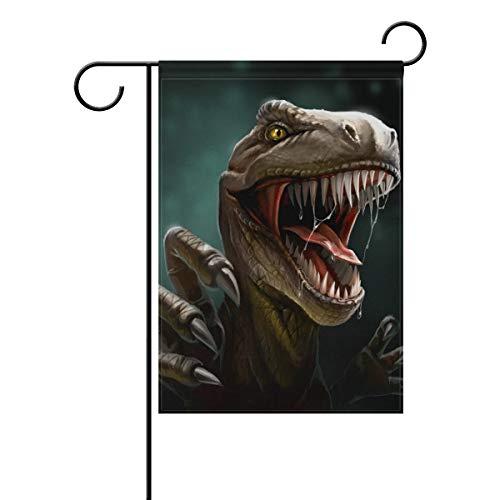 DEZIRO Dino Dangerous Dinosaurier Open Mouth Yard Flag Custom Garden Flag Double Side, Polyester, 1, 28x40(in)
