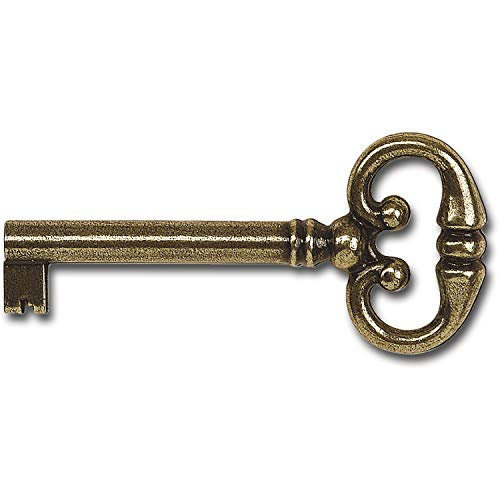 Gedotec Ersatz-Schlüssel für Möbel-Schloss Buntbartschlüssel Deko Bartschlüssel Schrank - H2137 | 68 mm | Zinkdruckguss Messing brüniert | 1 Stück - Möbelschlüssel Antik Rohling für Schubladen