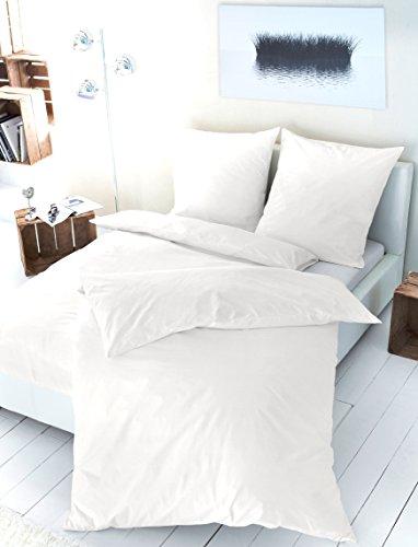 PRIMERA Luxus - Satin Bettwäsche Baumwoll-Satin 255001-000 Uni Weiß 135x200 + 80x80