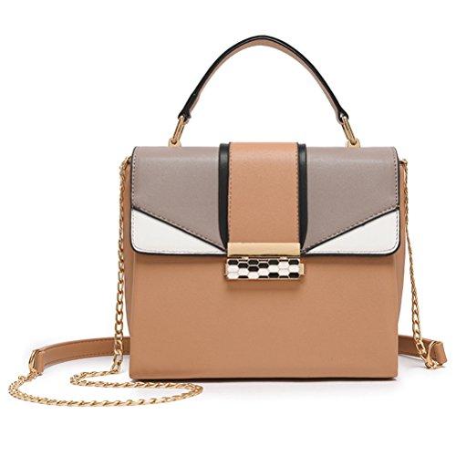 Hhgold borsa a mano da donna in pelle piccolo borsa a tracolla elegante borsa a spalla catena casual (colore : cachi, dimensione : taglia unica)