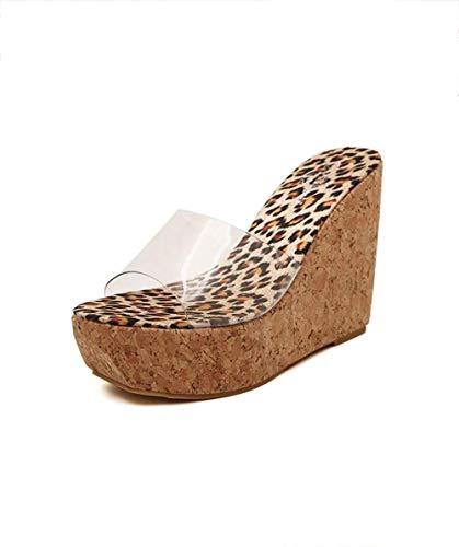 Women's high heels Transparenter Keil mit weiblichen Sandalen und Hausschuhen, einem Biskuit mit dickem Boden, hohem Absatz, 8 cm oder mehr, Sommerfischmund, künstlichem PU