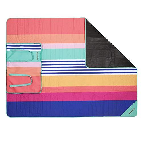 SunnyLIFE Übergroße XL Bedruckte Decke für Pool, Strand oder Picknick, Ultra tragbar mit Reißverschluss, der zusammengeklappt und leicht zu transportierende Griffe - Mehrfarbig - Einheitsgröße
