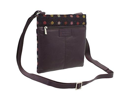 Pelle di Mala ABERTWEED collezione Leather & Tweed Croce Body Bag 752_40 prugna Spot: Plum Spot