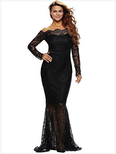 WJS-Damenbekleidung print - kleid, einen ball zu wort, ein langärmliges spitzen, eine kurze meerjungfrau kleid, ein kleid,schwarz,m