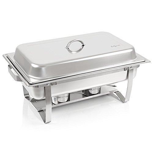 Zelsius Chafing Dish | Edelstahl Warmhaltebehälter | Speisenwärmer | Wärmebehälter | Rechaud für Catering, Buffet und Party (Nancy (1x 1/2 GN + 2X 1/4 GN-Behälter))