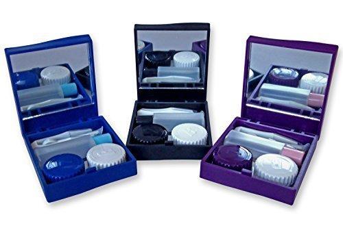 Kontaktlinsen Reiseset Hülle ~ Spiegel Pinzetten & Desinfektionslösung Lager Satz für Brillengläser - Blau