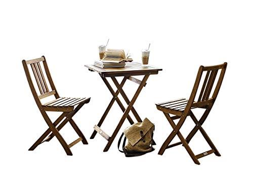 garten e tischgruppe SAM Gartengruppe Taastrup, 3tlg, Akazienholz-Balkongruppe,FSC 100% Zertifiziert,1 Tisch + 2 Stühle,Garten-Tischgruppe
