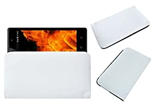Acm Rich Soft Carry Case For Lyf Flame 8 Mobile Handpouch Leather Cover Pouch White