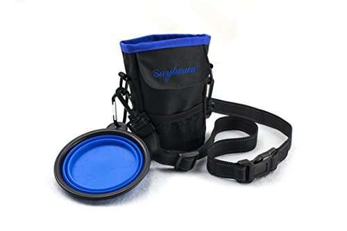 Dog Treat Pouch Training Bag /Waterproof Dog Puppy Walking Treat Pouch With Reflective Adjustable Belt And Pet Waste Bags Dispenser,Free Gift – Collapsible Travel Silicone Dog Bowl
