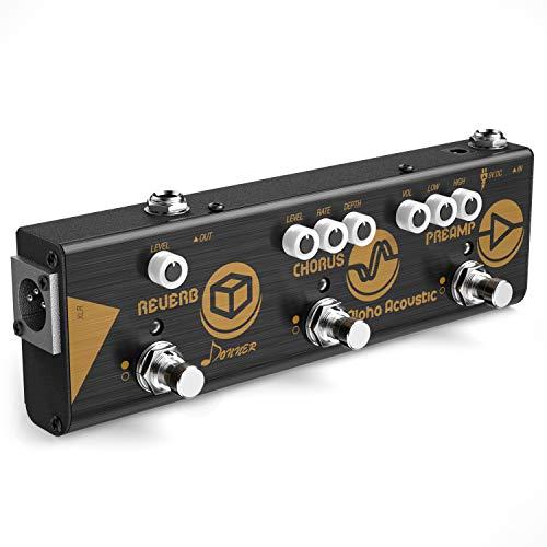 Donner Mini Alpha Akustik Gitarre Effektpedal Akustischer Preamp, Chorus und Hall Reverb Effekt