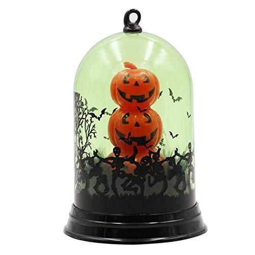 Halloween Beleuchtete Kürbislaterne, Glaskuppel-Hexe-Kürbis-Katzen-Muster Halloween-Licht, Das Funkelnde Tabellen-Nachtlampen-Geist-Abziehbild-Halloween-Dekoration Spinnt