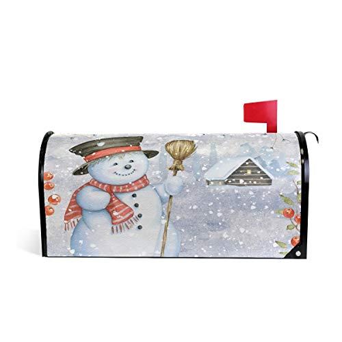 Watercolor Cute Snowman Besen Welcome Magnetic Mailbox Cover Wraps Winter Weihnachten Schnee Standard Größe Makover MailWrap Garten Home Decor