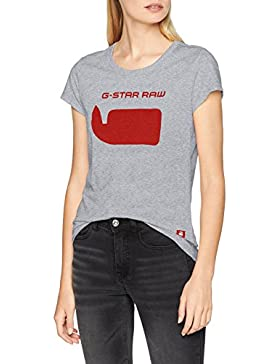 G-STAR RAW G-Star 18 Slim R T Wmn S/s, Camiseta para Mujer, Gris (Grey Heather), 10 (Talla del Fabricante: Large)