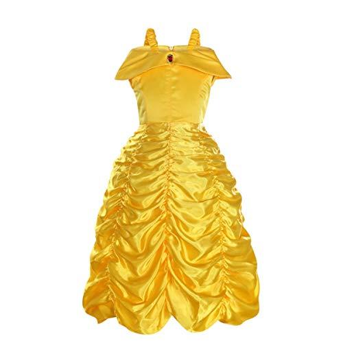 EisEyen Belle Kleider Kostüm Party Schick Ankleiden für Prinzessin Mädchen Mädchen Kleider Brosche Prinzessin Kleid Belle Einfarbig Drop Shoulder Falten Rock