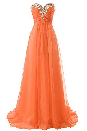 Abendkleider Ballkleider Lang Damen Brautjungfernkleider Festkleider A Linie Chiffon Orange EUR40