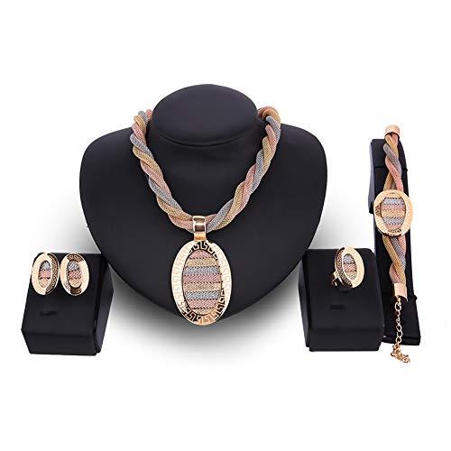 Luxuon Polierter Schmuck4 Stücke Frauen Schmuck-Set, Hochzeit Twist Weave Choker Halskette Ohrring Armband Armband Dubai äthiopischen Schmuck Sets