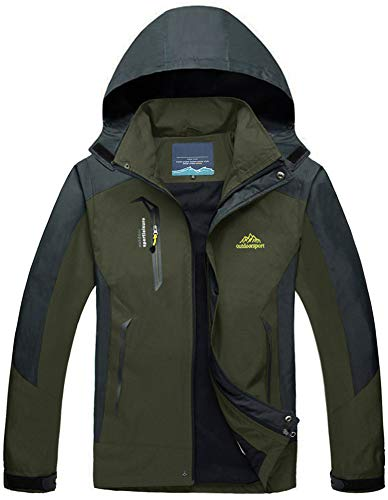 Skijacke Herren Outdoor Schnee Waterproof Breathable Windproof Parka Men Camping Wander Wasserdichte Fleece Fishing Hunting Skiing mit Kapuze Mens Mountain Army Jacket Armeegrün Army Green olive (Schnee Parka Herren)