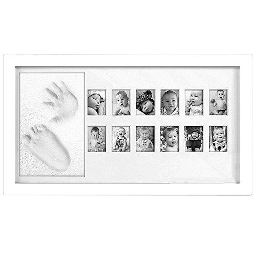 Chuckle - Mi primer año - Marco de Fotos para Memorias e imágenes de Bebé y Niño – Cuadro con Arcilla para Huella de manos y pies. - Fotografías (Blanco)