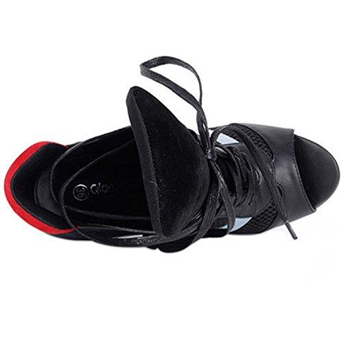 Oasap Women's Fashion Peep Toe High Heels Ankle Boots Black