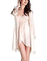 Aivtalk - Pijama Conjunto de 2 Piezas Ropa de Dormir de Seda Imitación de Vestido con Bata de Mangas Largas Sleepwear para Mujer