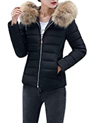 Sonnena New Womens Ladies Quilted Winter Coat Puffer Fur Collar Hooded Jacket Parka Coat